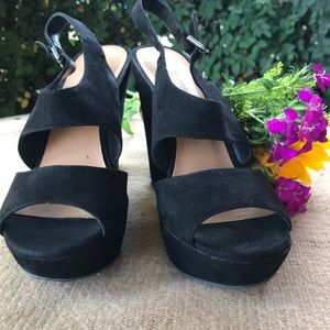 🌵Nine West black wedge suede heel